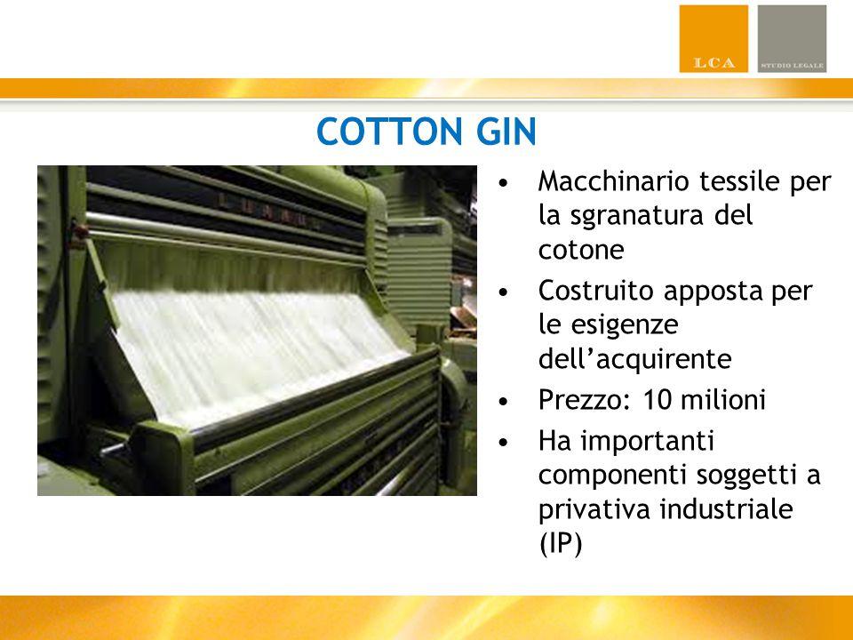 COTTON GIN Macchinario tessile per la sgranatura del cotone Costruito apposta per le esigenze dell'acquirente Prezzo: 10 milioni Ha importanti componenti soggetti a privativa industriale (IP)