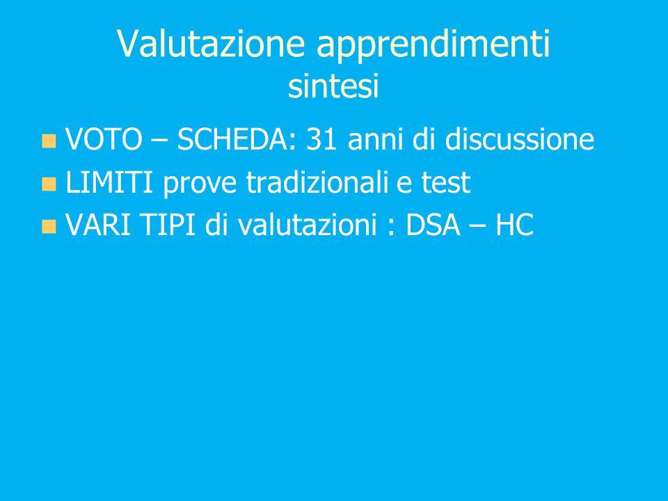 Valutazione apprendimenti sintesi VOTO – SCHEDA: 31 anni di discussione LIMITI prove tradizionali e test VARI TIPI di valutazioni : DSA – HC