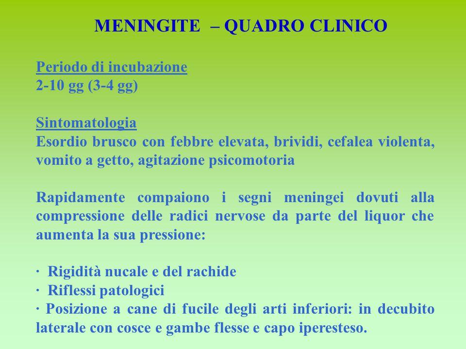 Periodo di incubazione 2-10 gg (3-4 gg) Sintomatologia Esordio brusco con febbre elevata, brividi, cefalea violenta, vomito a getto, agitazione psicom