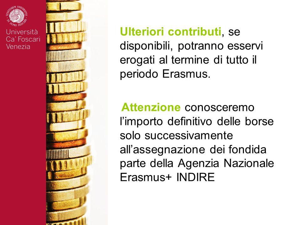Attenzione conosceremo l'importo definitivo delle borse solo successivamente all'assegnazione dei fondida parte della Agenzia Nazionale Erasmus+ INDIRE