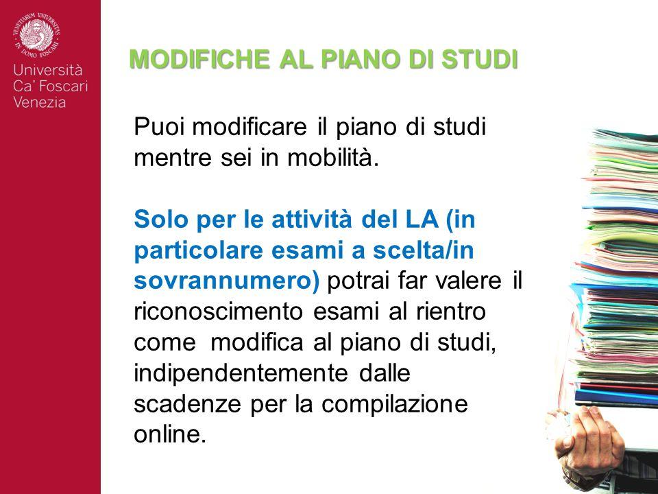 MODIFICHE AL PIANO DI STUDI Puoi modificare il piano di studi mentre sei in mobilità.