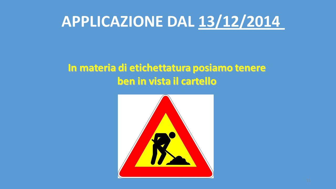 11 In materia di etichettatura posiamo tenere ben in vista il cartello APPLICAZIONE DAL 13/12/2014