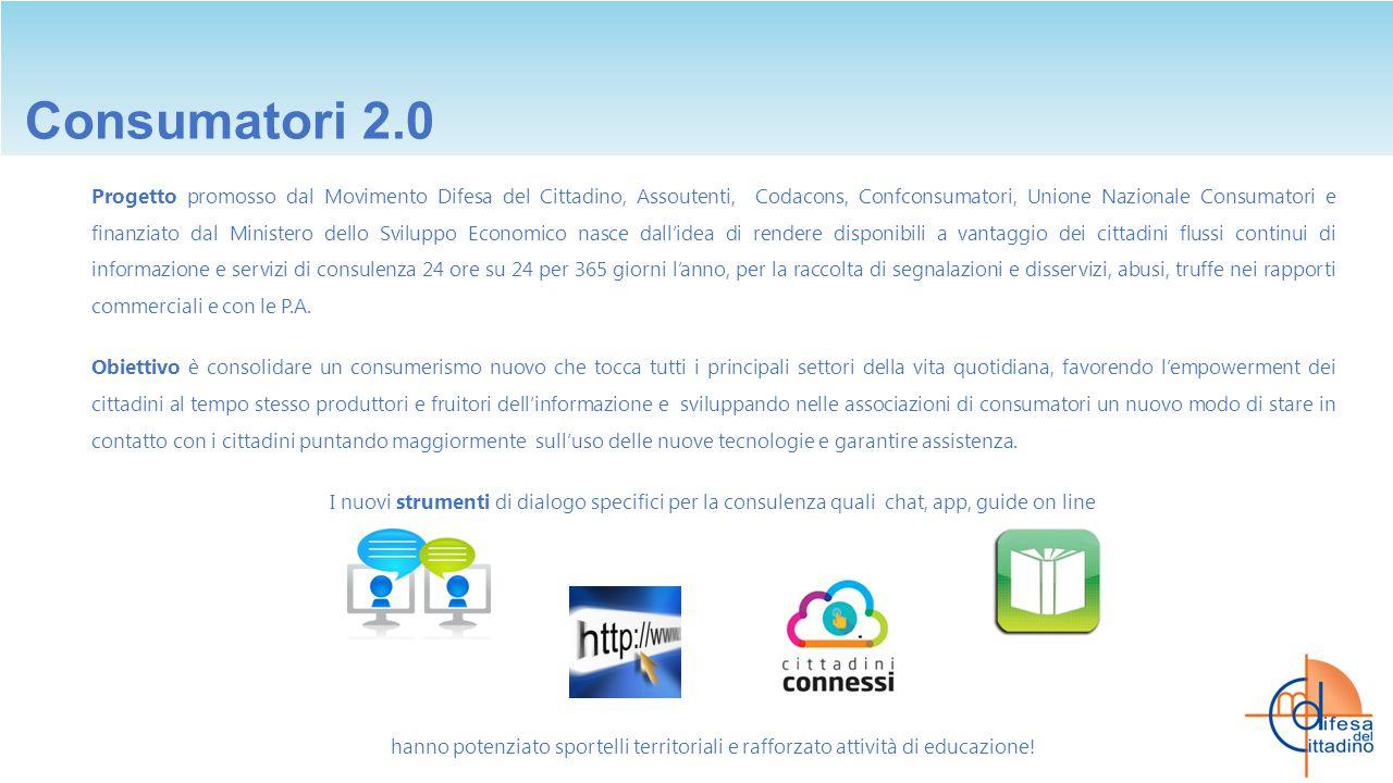 Consumatori 2.0 Progetto promosso dal Movimento Difesa del Cittadino, Assoutenti, Codacons, Confconsumatori, Unione Nazionale Consumatori e finanziato