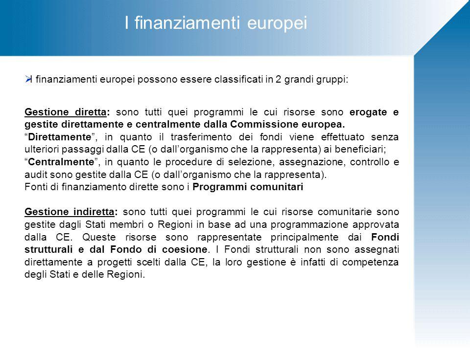 I finanziamenti europei  I finanziamenti europei possono essere classificati in 2 grandi gruppi: Gestione diretta: sono tutti quei programmi le cui risorse sono erogate e gestite direttamente e centralmente dalla Commissione europea.