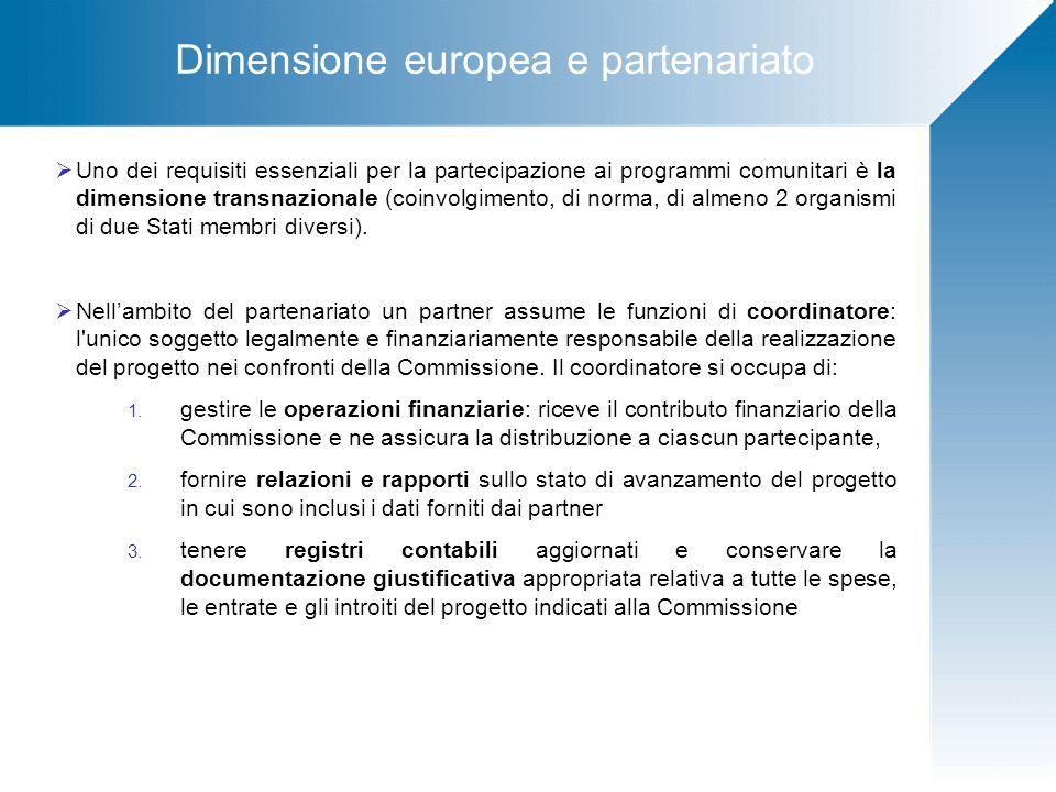 Dimensione europea e partenariato  Uno dei requisiti essenziali per la partecipazione ai programmi comunitari è la dimensione transnazionale (coinvolgimento, di norma, di almeno 2 organismi di due Stati membri diversi).