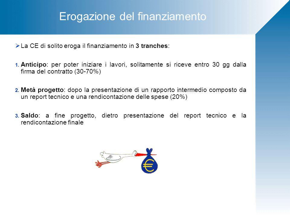 Erogazione del finanziamento  La CE di solito eroga il finanziamento in 3 tranches: 1.