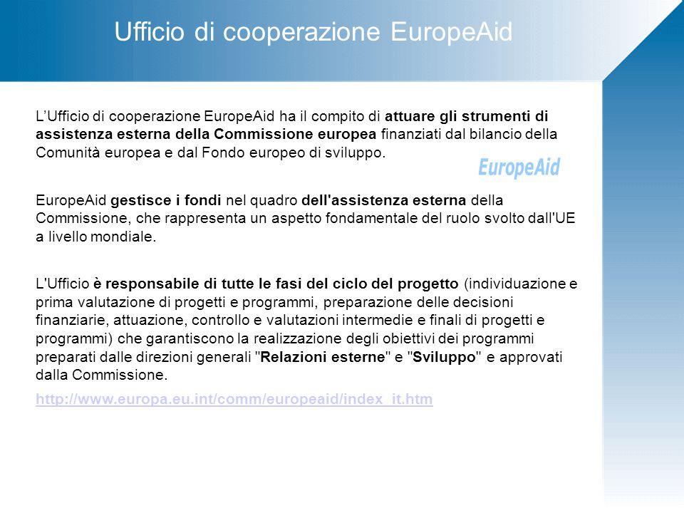 Ufficio di cooperazione EuropeAid L'Ufficio di cooperazione EuropeAid ha il compito di attuare gli strumenti di assistenza esterna della Commissione europea finanziati dal bilancio della Comunità europea e dal Fondo europeo di sviluppo.