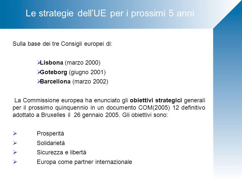 Le strategie dell'UE per i prossimi 5 anni Sulla base dei tre Consigli europei di:  Lisbona (marzo 2000)  Goteborg (giugno 2001)  Barcellona (marzo 2002) La Commissione europea ha enunciato gli obiettivi strategici generali per il prossimo quinquennio in un documento COM(2005) 12 definitivo adottato a Bruxelles il 26 gennaio 2005.