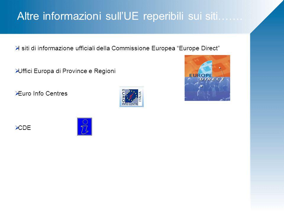 Altre informazioni sull'UE reperibili sui siti…….