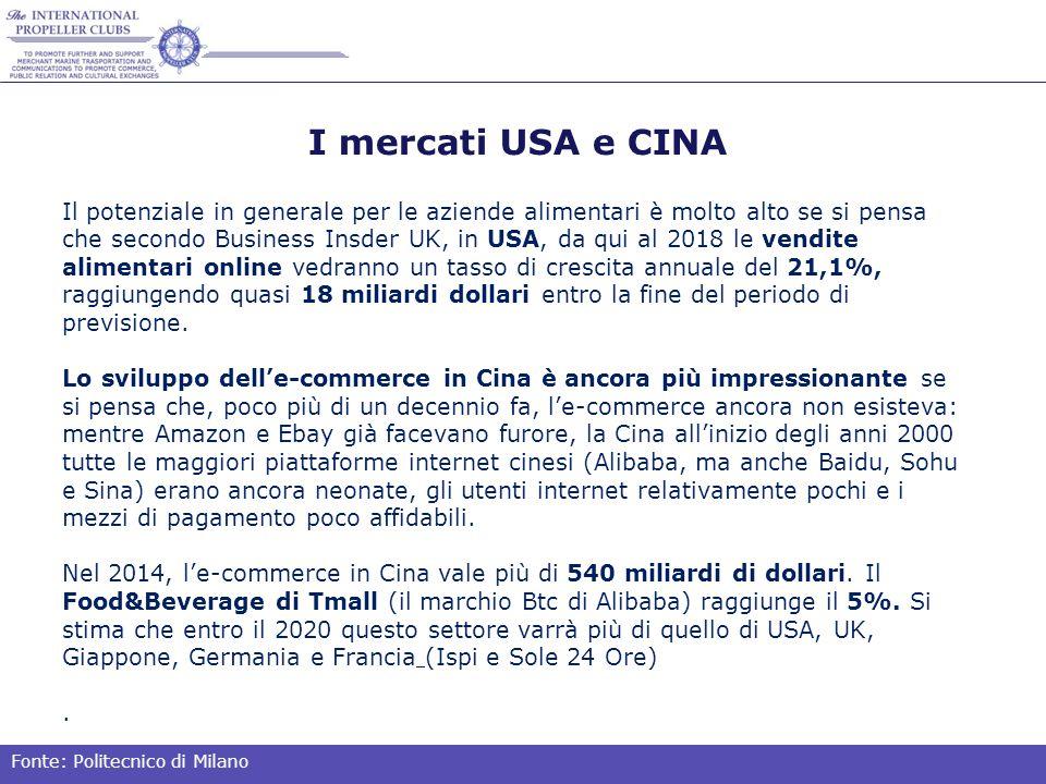 I mercati USA e CINA Il potenziale in generale per le aziende alimentari è molto alto se si pensa che secondo Business Insder UK, in USA, da qui al 2018 le vendite alimentari online vedranno un tasso di crescita annuale del 21,1%, raggiungendo quasi 18 miliardi dollari entro la fine del periodo di previsione.