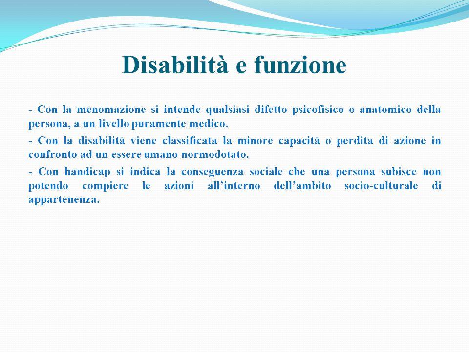 Disabilità e funzione - Con la menomazione si intende qualsiasi difetto psicofisico o anatomico della persona, a un livello puramente medico.
