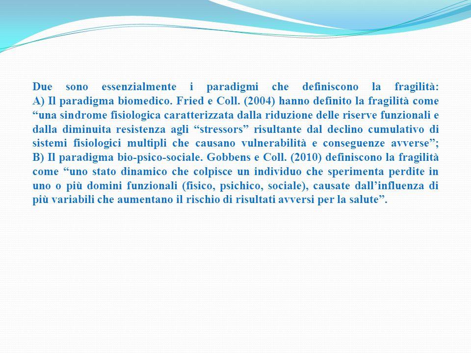 Due sono essenzialmente i paradigmi che definiscono la fragilità: A) Il paradigma biomedico.