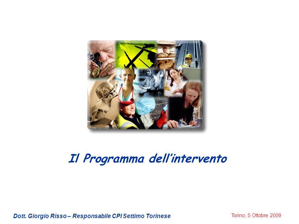 Torino, 5 Ottobre 2009 Il Programma dell'intervento Dott. Giorgio Risso – Responsabile CPI Settimo Torinese