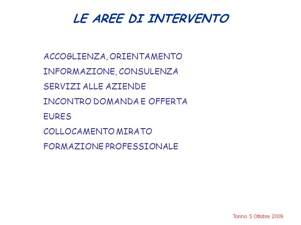 Torino, 5 Ottobre 2009 LE AREE DI INTERVENTO ACCOGLIENZA, ORIENTAMENTO INFORMAZIONE, CONSULENZA SERVIZI ALLE AZIENDE INCONTRO DOMANDA E OFFERTA EURES COLLOCAMENTO MIRATO FORMAZIONE PROFESSIONALE