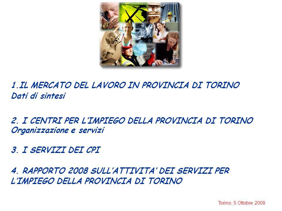 Torino, 5 Ottobre 2009 1.IL MERCATO DEL LAVORO IN PROVINCIA DI TORINO Dati di sintesi 2. I CENTRI PER L'IMPIEGO DELLA PROVINCIA DI TORINO Organizzazio