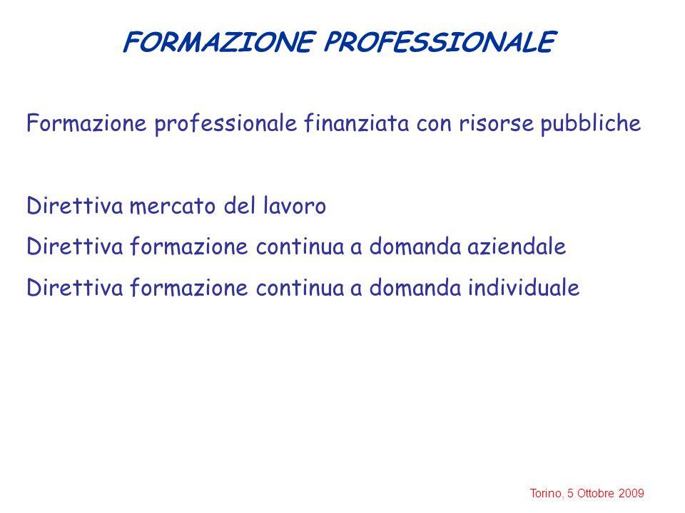 Torino, 5 Ottobre 2009 FORMAZIONE PROFESSIONALE Formazione professionale finanziata con risorse pubbliche Direttiva mercato del lavoro Direttiva formazione continua a domanda aziendale Direttiva formazione continua a domanda individuale