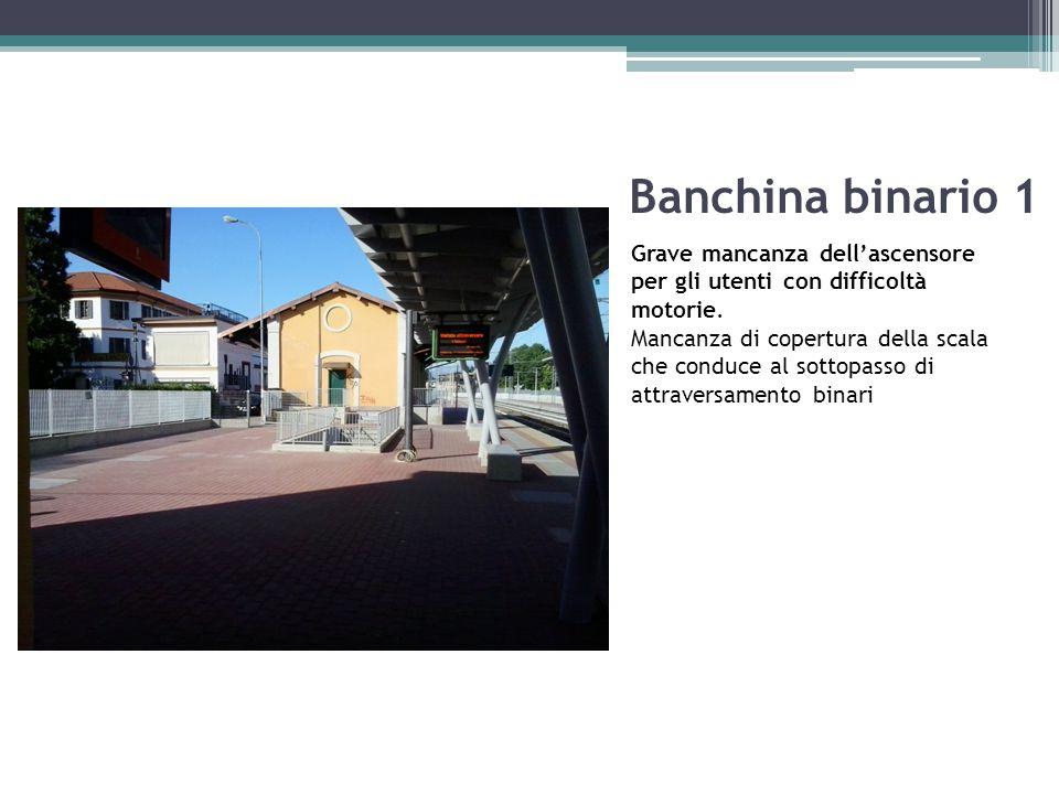 Banchina binario 1 Grave mancanza dell'ascensore per gli utenti con difficoltà motorie. Mancanza di copertura della scala che conduce al sottopasso di