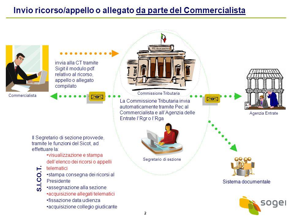2 Il Segretario di sezione provvede, tramite le funzioni del Sicot, ad effettuare la: visualizzazione e stampa dell'elenco dei ricorsi o appelli telem