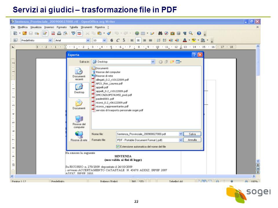 22 Servizi ai giudici – trasformazione file in PDF