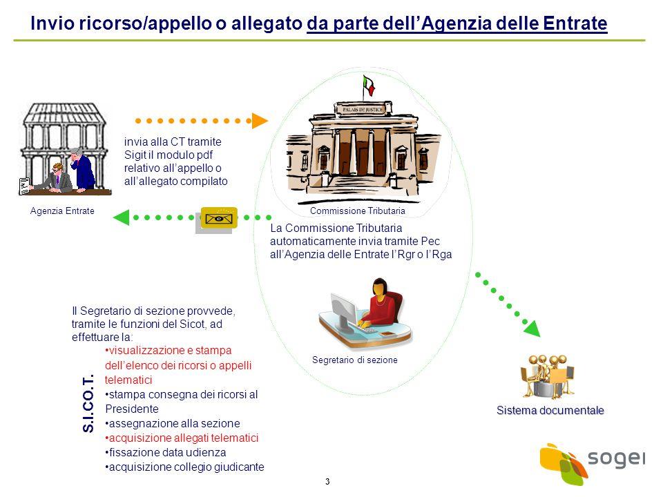 3 Il Segretario di sezione provvede, tramite le funzioni del Sicot, ad effettuare la: visualizzazione e stampa dell'elenco dei ricorsi o appelli telem
