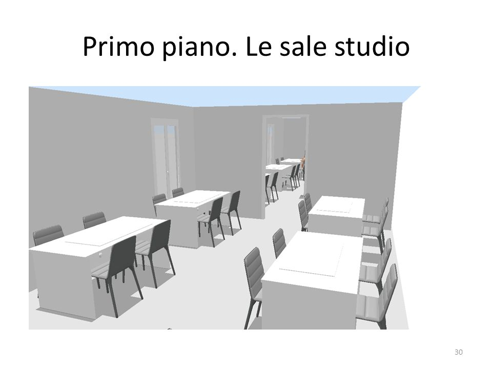 Primo piano. Le sale studio 30