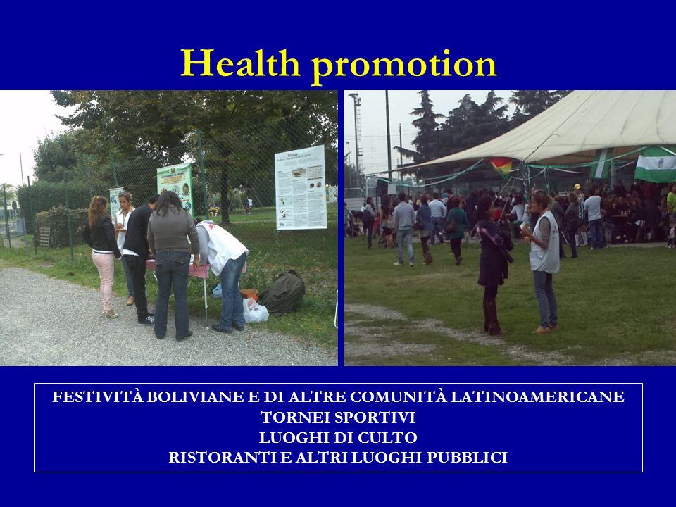 Health promotion FESTIVITÀ BOLIVIANE E DI ALTRE COMUNITÀ LATINOAMERICANE TORNEI SPORTIVI LUOGHI DI CULTO RISTORANTI E ALTRI LUOGHI PUBBLICI