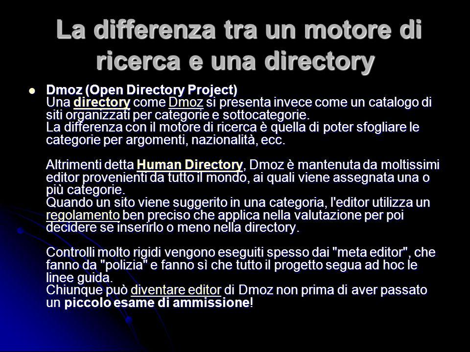 La differenza tra un motore di ricerca e una directory La differenza tra un motore di ricerca e una directory Dmoz (Open Directory Project) Una directory come Dmoz si presenta invece come un catalogo di siti organizzati per categorie e sottocategorie.