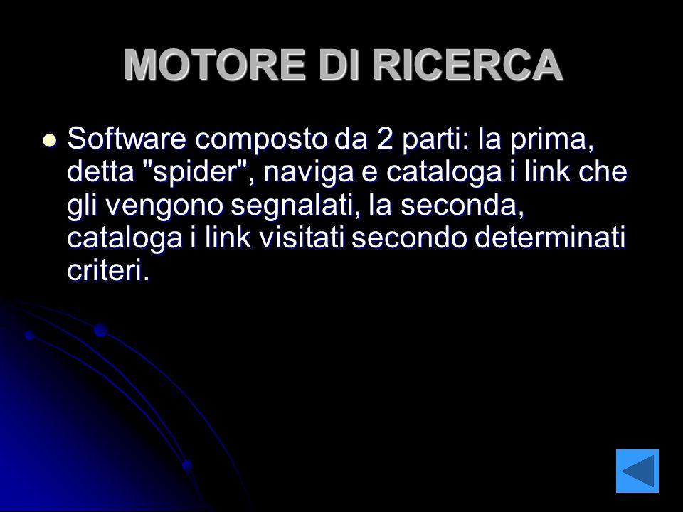MOTORE DI RICERCA Software composto da 2 parti: la prima, detta spider , naviga e cataloga i link che gli vengono segnalati, la seconda, cataloga i link visitati secondo determinati criteri.