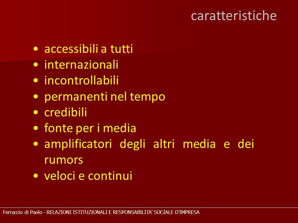 caratteristiche accessibili a tutti internazionali incontrollabili permanenti nel tempo credibili fonte per i media amplificatori degli altri media e