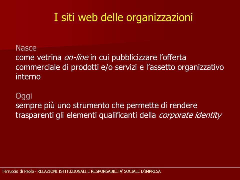 I siti web delle organizzazioni Nasce come vetrina on-line in cui pubblicizzare l'offerta commerciale di prodotti e/o servizi e l'assetto organizzativ