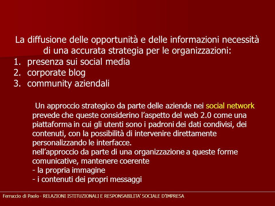 La diffusione delle opportunità e delle informazioni necessità di una accurata strategia per le organizzazioni: 1.presenza sui social media 2.corporat