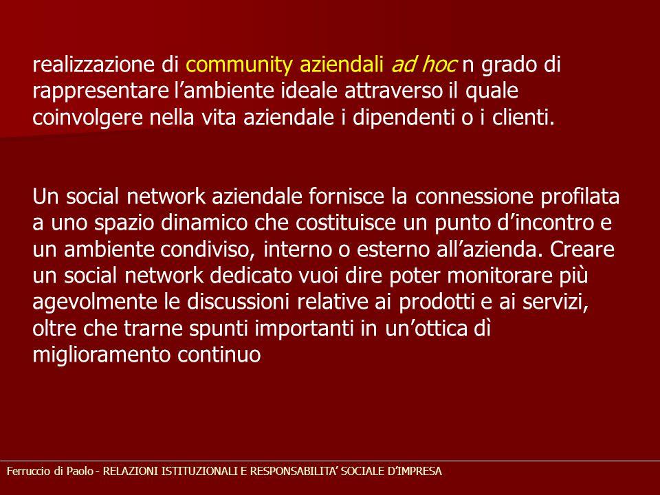 realizzazione di community aziendali ad hoc n grado di rappresentare l'ambiente ideale attraverso il quale coinvolgere nella vita aziendale i dipenden