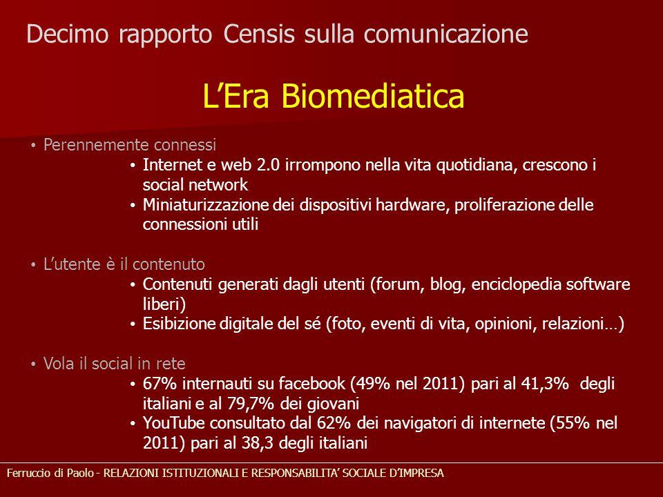 Decimo rapporto Censis sulla comunicazione L'Era Biomediatica Perennemente connessi Internet e web 2.0 irrompono nella vita quotidiana, crescono i soc