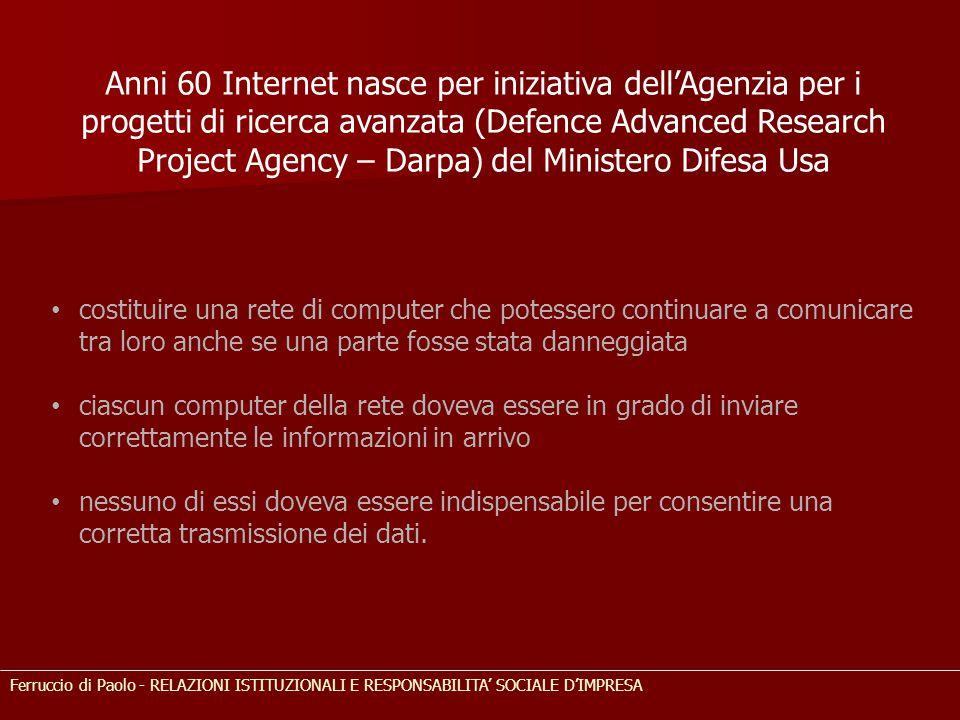 Anni 60 Internet nasce per iniziativa dell'Agenzia per i progetti di ricerca avanzata (Defence Advanced Research Project Agency – Darpa) del Ministero
