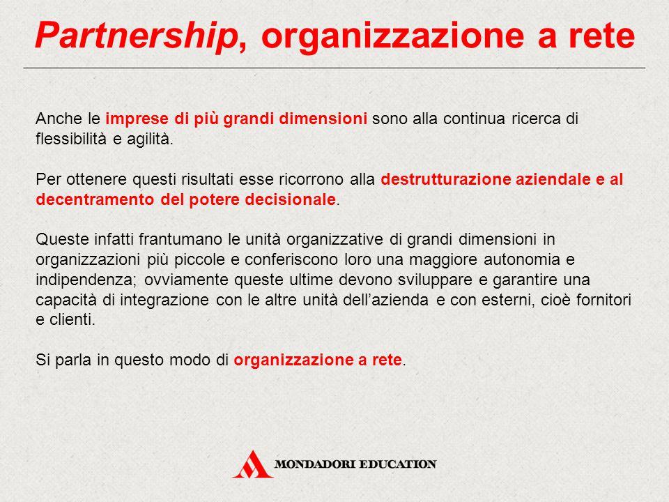 Partnership, organizzazione a rete Anche le imprese di più grandi dimensioni sono alla continua ricerca di flessibilità e agilità. Per ottenere questi