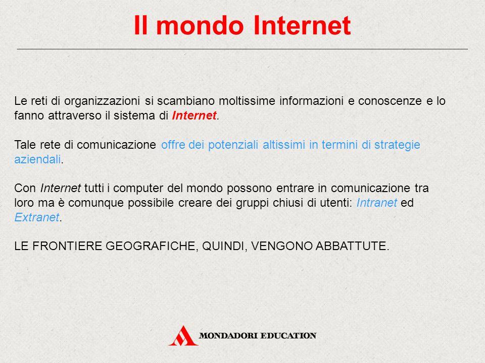 Il mondo Internet Le reti di organizzazioni si scambiano moltissime informazioni e conoscenze e lo fanno attraverso il sistema di Internet. Tale rete