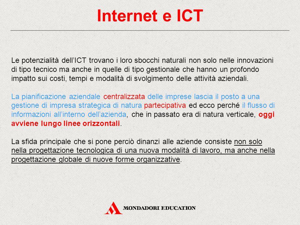 Internet e ICT Le potenzialità dell'ICT trovano i loro sbocchi naturali non solo nelle innovazioni di tipo tecnico ma anche in quelle di tipo gestionale che hanno un profondo impatto sui costi, tempi e modalità di svolgimento delle attività aziendali.
