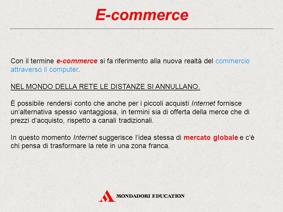 E-commerce Con il termine e-commerce si fa riferimento alla nuova realtà del commercio attraverso il computer. NEL MONDO DELLA RETE LE DISTANZE SI ANN