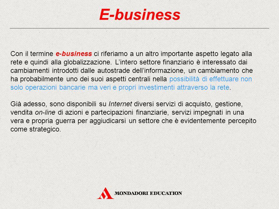 E-business Con il termine e-business ci riferiamo a un altro importante aspetto legato alla rete e quindi alla globalizzazione. L'intero settore finan