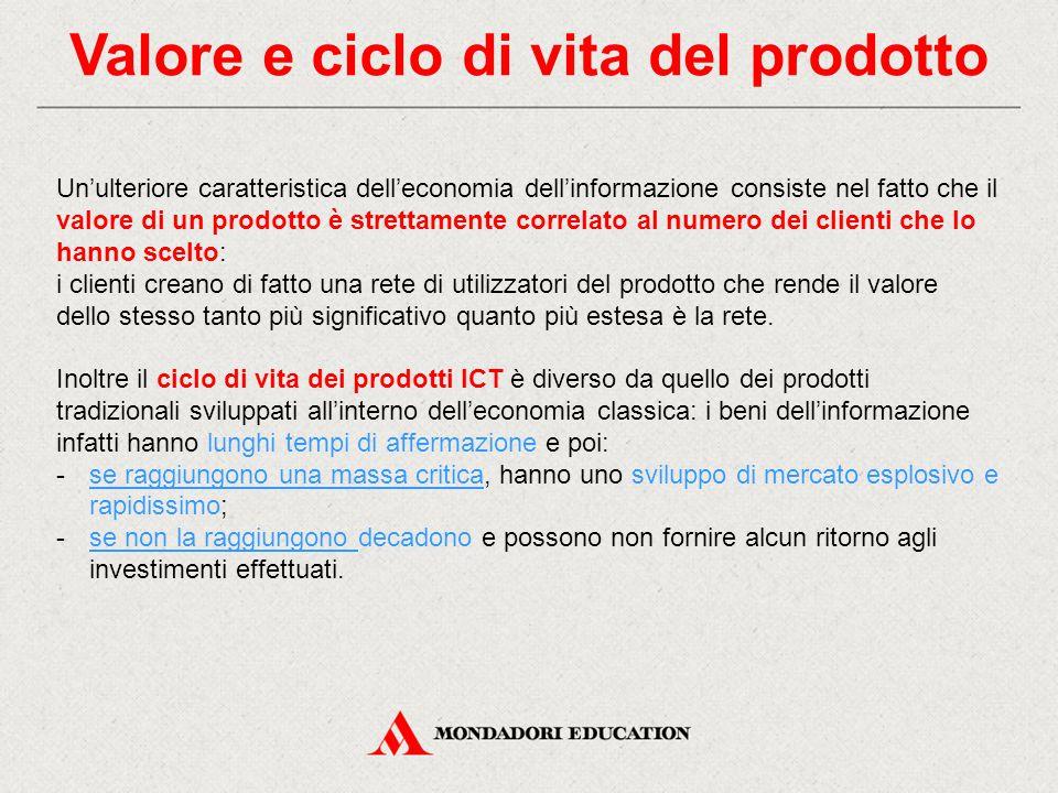 Valore e ciclo di vita del prodotto Un'ulteriore caratteristica dell'economia dell'informazione consiste nel fatto che il valore di un prodotto è stre