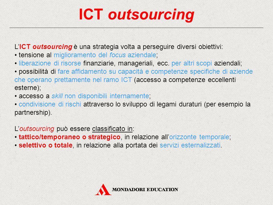 ICT outsourcing L'ICT outsourcing è una strategia volta a perseguire diversi obiettivi: tensione al miglioramento del focus aziendale; liberazione di risorse finanziarie, manageriali, ecc.