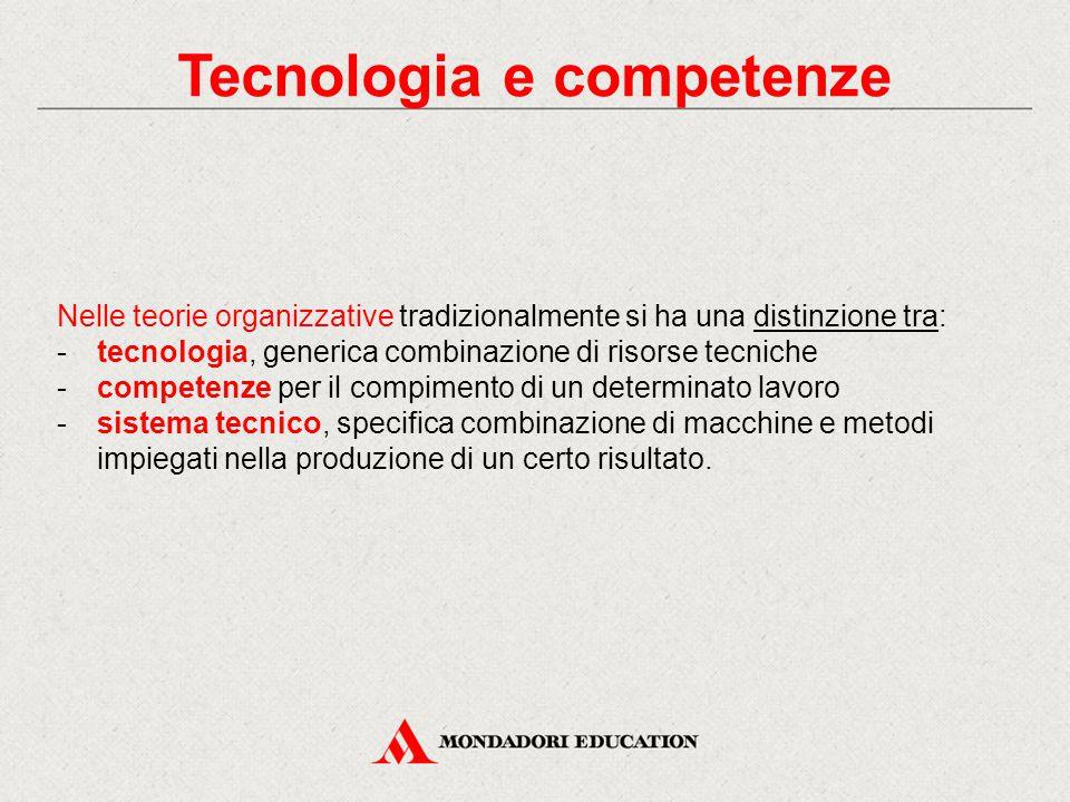 Tecnologia e competenze Nelle teorie organizzative tradizionalmente si ha una distinzione tra: -tecnologia, generica combinazione di risorse tecniche