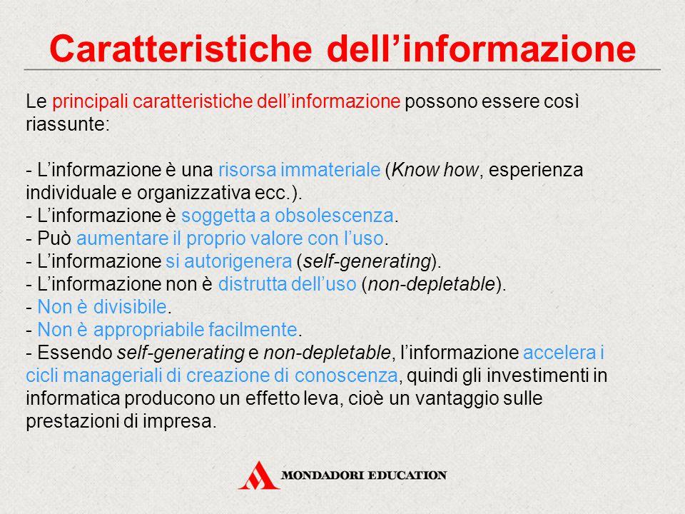 Caratteristiche dell'informazione Le principali caratteristiche dell'informazione possono essere così riassunte: - L'informazione è una risorsa immateriale (Know how, esperienza individuale e organizzativa ecc.).