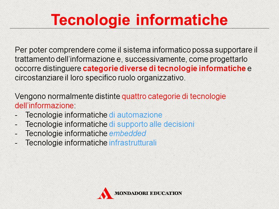 Tecnologie informatiche Per poter comprendere come il sistema informatico possa supportare il trattamento dell'informazione e, successivamente, come progettarlo occorre distinguere categorie diverse di tecnologie informatiche e circostanziare il loro specifico ruolo organizzativo.