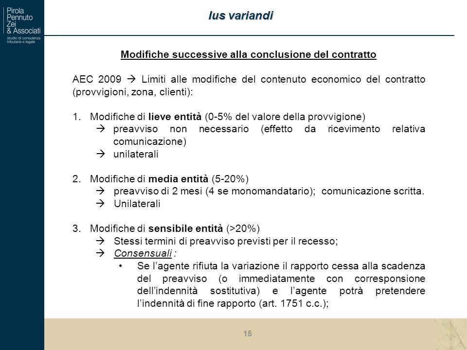 Modifiche successive alla conclusione del contratto AEC 2009  Limiti alle modifiche del contenuto economico del contratto (provvigioni, zona, clienti): 1.Modifiche di lieve entità (0-5% del valore della provvigione)  preavviso non necessario (effetto da ricevimento relativa comunicazione)  unilaterali 2.Modifiche di media entità (5-20%)  preavviso di 2 mesi (4 se monomandatario); comunicazione scritta.