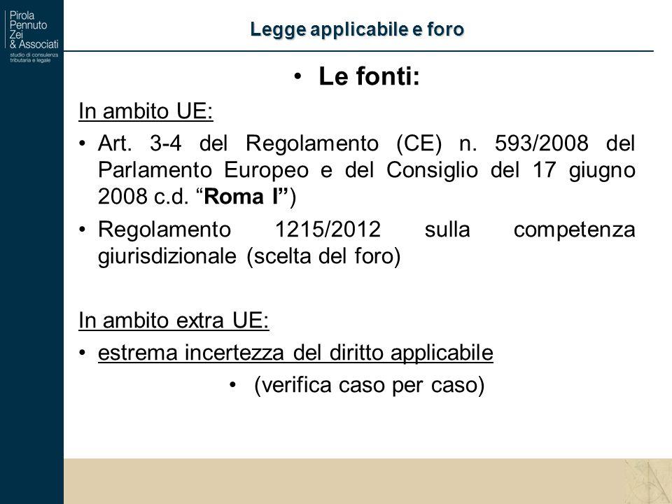 Le fonti: In ambito UE: Art. 3-4 del Regolamento (CE) n.