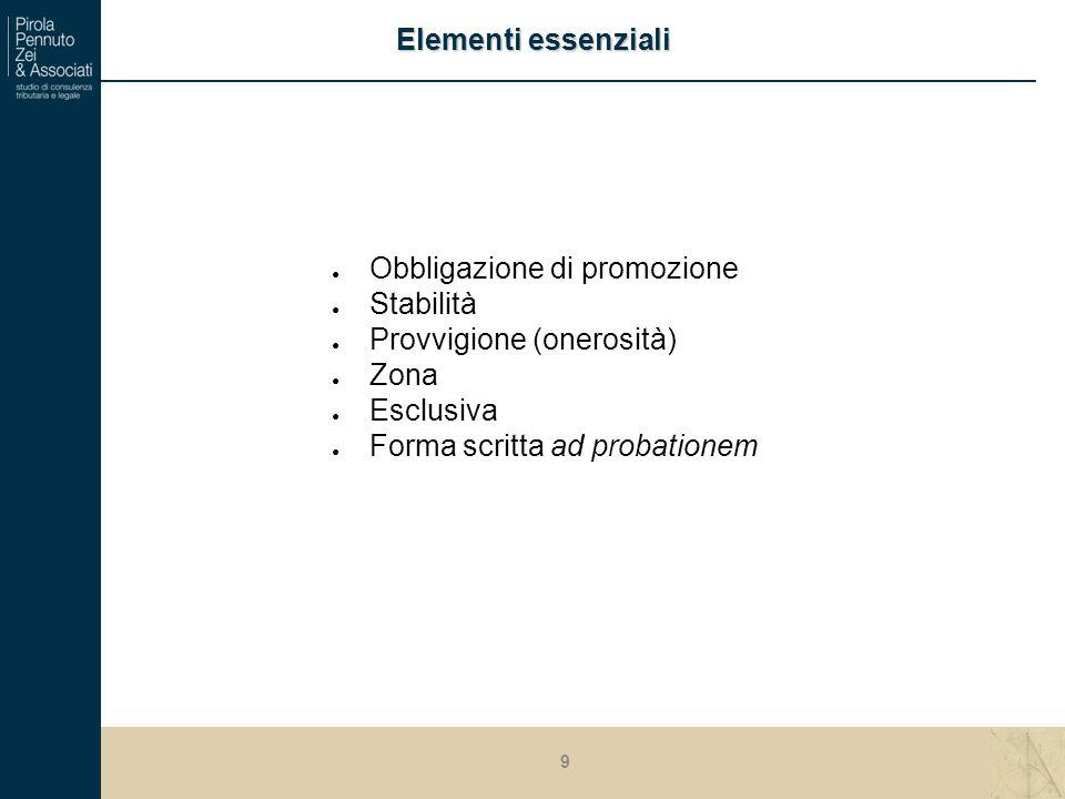 ● Obbligazione di promozione ● Stabilità ● Provvigione (onerosità) ● Zona ● Esclusiva ● Forma scritta ad probationem Elementi essenziali 9
