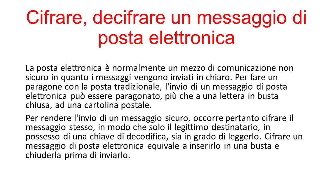 Cifrare, decifrare un messaggio di posta elettronica La posta elettronica è normalmente un mezzo di comunicazione non sicuro in quanto i messaggi vengono inviati in chiaro.