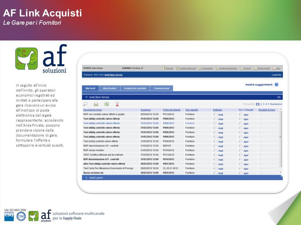 AF Link Acquisti Le Gare : Approvazione La sezione Approvazione riporta il ciclo di approvazione che il documento deve subire prima di raggiungere i fornitori.