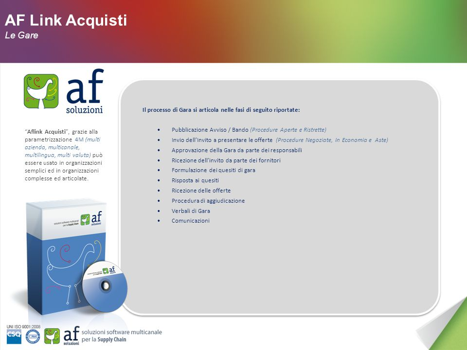 AF Link Acquisti Le Funzionalità Aflink Acquisti è la scelta per rinnovare in azienda sia i processi di negoziazione sia la modalità di relazione con i fornitori.